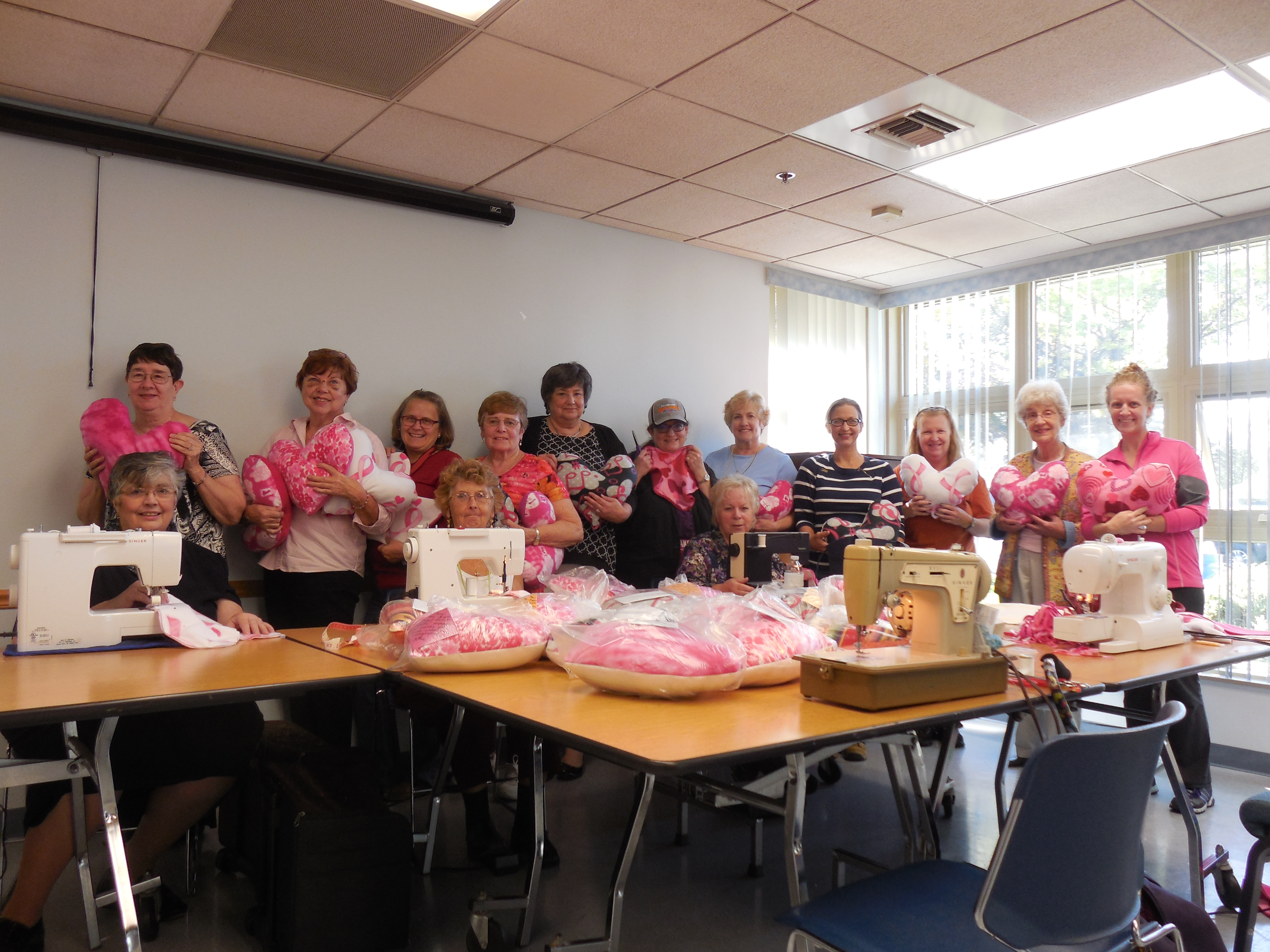 DAR Day of Service - making heart pillows for breast cancer patients
